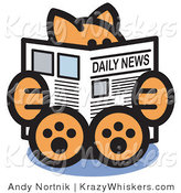 Critter Clipart of a Smart Orange Cat Sitting and Reading the Newspaper by Andy Nortnik
