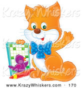 Critter Clipart of a Smart Orange Kitten and Purple Bird, Waving at the Viewer and Holding up an Activity Book by Alex Bannykh