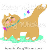 Critter Clipart of a Smiling Japanese Cat Wearing a Blue Collar with Stars by