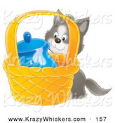 Critter Clipart of a Sneaky Gray and White Kitty Trying to Get to Milk in a Jar in a Basket by Alex Bannykh
