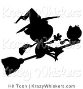 Critter Clipart of a Solid Black Silhouette of a Flying Witch with Cat on Broomstick by Hit Toon