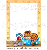 Critter Clipart of a Spoiled Cat in a Bed Border Around White Space by Visekart