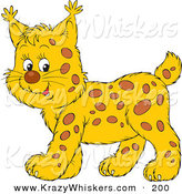 Critter Clipart of a Spotted Bobcat Cub Smiling and Walking to the Left by Alex Bannykh