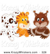 Critter Clipart of a Spotted Puppy, Tiger and Baby Owl in a Group on Solid White by Alex Bannykh