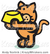 Critter Clipart of a Starving Orange Cat Holding up a Yellow Food Dish, Waiting to Be Fed by Andy Nortnik