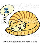 Critter Clipart of a Striped Ginger Cat Curled up and Taking a Pleasant Nap by Gnurf
