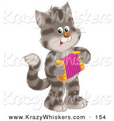 Critter Clipart of a Striped Gray Kitty Cat Standing on Its Hind Legs, Playing an Accordion by Alex Bannykh
