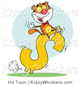 Critter Clipart of a Successful Tiger Riding on a Dollar Symbol While Waving by Hit Toon