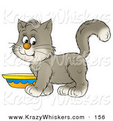 Critter Clipart of a Sweet Gray and White Kitten Standing by a Saucer of Milk by Alex Bannykh
