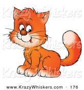 Critter Clipart of a Sweet Orange Kitty Cat Sitting with Its Body Facing Left, Its Head Turned Towards the Viewer by Alex Bannykh