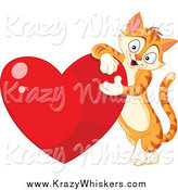 Critter Clipart of a Tabby Ginger Cat Leaning on a Shiny Red Heart by Yayayoyo