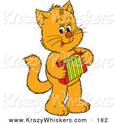 Critter Clipart of a Talented Orange Kitten Standing on Its Hind Legs and Playing an Accordion by Alex Bannykh