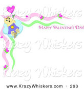 "Critter Clipart of a Tan Kitty Cat Holding onto a Balloon and Flying Away on a Stationery Border with ""Happy Valentine's Day"" Text by"