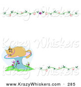 Critter Clipart of a Tan Kitty Cat on a Mushroom in the Lower Left Corner of a Blank White Stationery Background with Vines by
