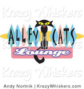 Critter Clipart of a Thin Solid Black Cat Sitting in the Center of Green, Blue and Pink Diamonds on a Vintage Alley Cats Lounge Sign by Andy Nortnik