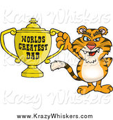 Critter Clipart of a Tiger Holding a Golden Worlds Greatest Dad Trophy by Dennis Holmes Designs