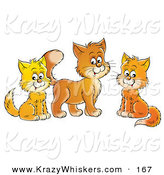 Critter Clipart of a Trio of Orange and Yellow Cats Sitting and Looking at the Viewer by Alex Bannykh