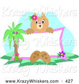 Critter Clipart of a Tropical Cat Sitting by a Palm Tree, Holding up a Blank White Sign by