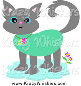 Critter Clipart of a Tropical Gray Cat Wearing a Collar by