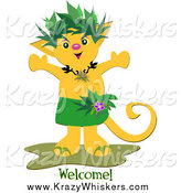 Critter Clipart of a Tropical Welcome Cat by