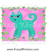 Critter Clipart of a Turquoise Cat over Pink with a Gingko Leaf Border by