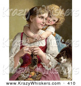 Critter Clipart of a Vintage Painting of a Little Blond Victorian Girl Hugging Her Mom from Behind As She Knits, a Cat Rubbing Against Her Arm by OldPixels