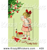 Critter Clipart of a Vintage Painting of a Little Victorian Girl Hugging Her White Cat and Standing by Toys near a Christmas Tree, on a Green Background with Greeting Text by OldPixels