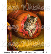 Critter Clipart of a Vintage Painting of a Pampered Victorian House Cat Taking a Leisurely Rest Inside a Muff Handwarmer on a Chair by OldPixels