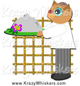 May 4th, 2014: Critter Clipart of a Waiter Cat Holding a Cloche Platter by Bpearth