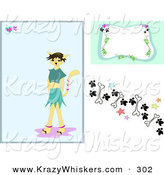Critter Clipart of a Web Design Set of Backgrounds of a Tan Morph Cat Girl Background with a Frame and Border Design of Paw Prints, Stars and Bones by