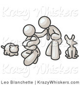 Critter Clipart of a White Family, Father, Mother and Newborn Child with Their Pet Dog and Cat by Leo Blanchette