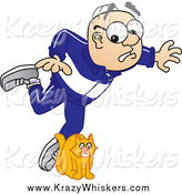 Critter Clipart of a White Senior Man Character Tripping over a Cat by Toons4Biz