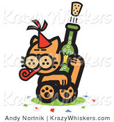 Critter Clipart of a Wild Orange Cat Wearing a Party Hat, Blowing a Party Blower and Popping a Cork off of a Bottle of Champagne by Andy Nortnik