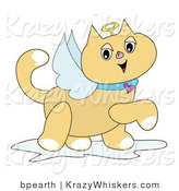 Critter Clipart of a Winged Tan Angel Cat with a Golden Halo and Heart Collar, Prancing by by Bpearth