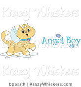 Critter Clipart of a Winged Tan Angel Cat with a Halo Prancing Around with Angel Boy Text by