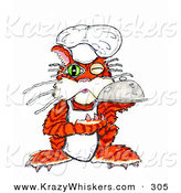 Critter Clipart of a Winking Orange Cook Cat Holding a Serving Platter of Food by Spanky Art