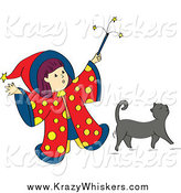 Critter Clipart of a Wizard Girl Holding up Her Magic Wand over Her Gray Cat by Cherie Reve