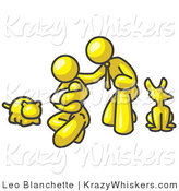 Critter Clipart of a Yellow Family, Father, Mother and Newborn Baby with Their Dog and Cat on White by Leo Blanchette