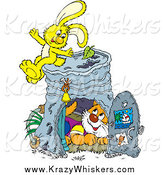 Critter Clipart of a Yellow Rabbit and Cat with a Pail by Alex Bannykh