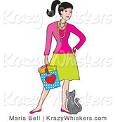 Critter Clipart of a Young White Woman Holding a Shopping Bag and Standing with a Cat Rubbing Against Her Leg by Maria Bell