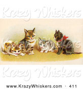 Critter Clipart of AGroup of Four Adorable Victorian Kittens in a Group, One Wearing a Red Bow by OldPixels