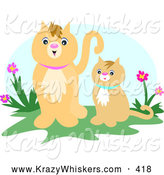 Critter Clipart of AHappy Adult Beige Cat Standing Beside Her Kitten near Purple and Pink Flowers by