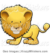 Critter Clipart of an Adorable Golden Male Lion with a Big Mane Facing Left by AtStockIllustration