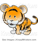 Critter Clipart of an Adorable Orange Tiger with Black Stripes and a Large Head by AtStockIllustration