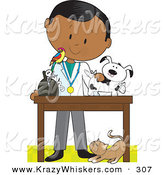 Critter Clipart of an African American Male Veterinarian with a Bird on His Shoulder, Bandaging up an Injured Puppy, a Cat at His Feet. by Maria Bell