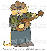 Critter Clipart of an Anthropomorphic Cowboy Orange Tabby Cat Playing Country Music on an Acoustic Guitar by Djart