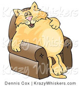 Critter Clipart of an Anthropomorphic Orange Tabby Cat Napping on a Recliner Chair by Djart