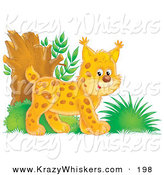 Critter Clipart of an Energetic Orange Bobtail Kitten Exploring in the Woods by Alex Bannykh