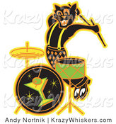 Critter Clipart of an Enthusiastic Black Cat Playing the Drums While Entertaining at a Bar Clipart Illustration by Andy Nortnik
