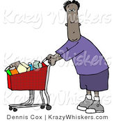 Critter Clipart of an Ethnic Man Going Grocery Shopping at His Local Food Store by Djart